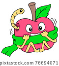 apples are scared because they are contaminated by caterpillars, doodle icon image kawaii 76694071