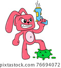 angry faced rabbit carrying a gun against the corona virus, doodle icon image kawaii 76694072