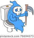 angel of death sitting on the toilet closet feeling stomachache, doodle icon image kawaii 76694073