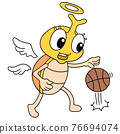 a cockroach insect with a happy face playing basketball, doodle icon image kawaii 76694074