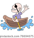 a bald man becomes a pirate alone in a small boat, doodle icon image kawaii 76694075
