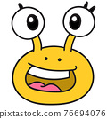 The snail head was laughing happily with big eyes, doodle icon drawing 76694076