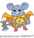 the koala animal is in the role of a superhero carrying a big ax weapon, doodle icon image kawaii 76694077