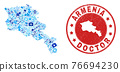 Medical Inoculation Mosaic Armenia Map and Rubber Health Care Rubber Stamp 76694230