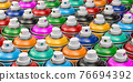 Rows of colorful graffity spray paint cans or bottles of aerosol. 3d illustration 76694392