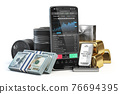 Stock exchange market trading platform on the screen of mobile phone. Smartphone with precious metals, money and crude oil. 76694395