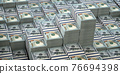 Dollar packs background. Growth of income and financial prosperity concept. 76694398