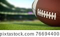 American football ball on grass of football arena 76694400