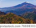 Mountain view of Mt. Fuji and autumn leaves from Tanzawa · Nabeyama mountain 76698303