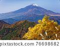 Mountain view of Mt. Fuji and autumn leaves from Tanzawa · Nabeyama mountain 76698682