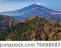 Mountain view of Mt. Fuji and autumn leaves from Tanzawa · Nabeyama mountain 76698683