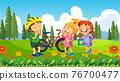 Children at ourdoor nature background 76700477
