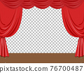 Empty stage illustration with red curtains transparent 76700487