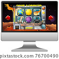 Space game on computer screen 76700490