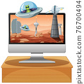 Isolated computer on the table with space theme desktop background 76700494
