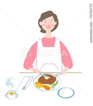 스테이크, 식사, 여성 76700774