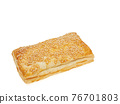 Tuna pie, a close up of homemade crispy tuna puff pastry bakery isolated on white background. 76701803