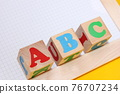 ABC -the first letters of the English alphabet on wooden toy blocks . English for beginners concept. 76707234