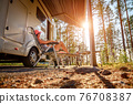 Family vacation travel RV, holiday trip in motorhome 76708387