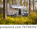 Family vacation travel RV, holiday trip in motorhome 76708392