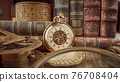 Vintage pocket watch. Vintage background Concept of time history. 76708404