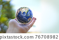 Human hand holds small Earth with care and love. Planet Earth globe ball in human hand. Strong Human  hands support planet. Earth day and saving planet. Environment conservation concept.  76708982