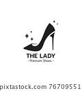 Elegant lady shoe logo design 76709551