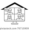 Video conference concept. Four people on desktop computer screen.  76710909