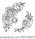 Hand drawn rose flower and leaves bunch.  76710910