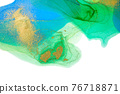 Abstract blue and green spots with gold powder layers on white background 76718871