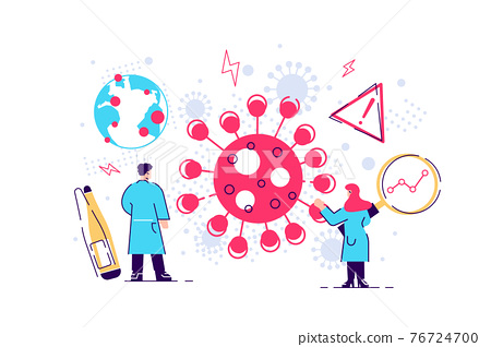 Skilled doctors fighting against coronavirus on white 76724700