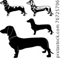 dachshund dog silhouette and sketch illustration - vector 76725796