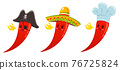 Hot chili pepper in sombrero, cook and pirate hats. 76725824
