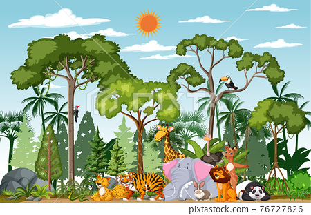 Wild animal cartoon character in the forest scene 76727826