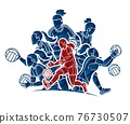 Group of Gaelic Football Female Players Sport Action Cartoon Graphic Vector. 76730507