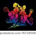 Group of Gaelic Football Female Players Sport Action Cartoon Graphic Vector. 76730508