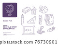 School and study doodle icon illustration set with thin outline style vector illustration 76730901