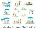 海邊人物插圖集 76735412