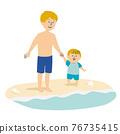 父母和小孩 親子 沙灘 76735415