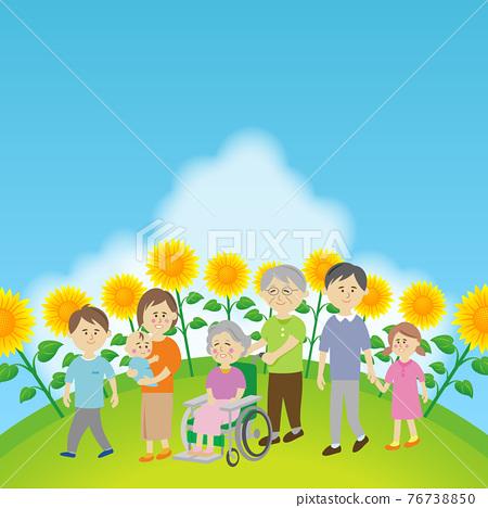 向日葵田和家庭的插圖圖像 76738850