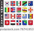 Stamp with official country flag pattern and old grunge texture and countries name . Square shape . Vector . Set 1 of 12 on this series ( All national flags of the world ) . 76741953