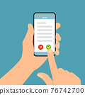 Flat design illustration of male hand holding touch screen mobile phone. Confirms the display terms or license, vector 76742700
