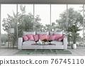 Interior living room and park landscape. 3D render 76745110