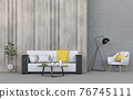 interior living room wall concrete with sofa, plant, lamp, decoration, 3D render 76745111