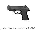 Black pistol gun isolated on white background in 3d illustration style 76745928