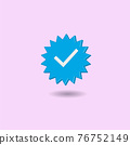 Minimal blue verified icon isolated on pastel pink background. Creative 3D effect vector illustration. 76752149