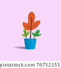 Abstract flower in a blue pot isolated on pastel pink color background. Cute cartoon. Creative 3D vector illustration 76752155