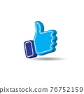 Blue thumb up icon isolated on white color background. Social Media like button. Creative 3D vector illustration 76752159