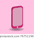 Pink cellular phone isolated on pastel background. 3D Cartoon vector illustration for design element. cute, girly, minimalism, trendy, fashionable. 76752196