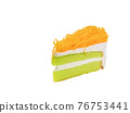 Sweet egg floss cake, a close up of Thai homemade sliced creamy cake bakery isolated on white background. 76753441